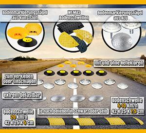 Bremsschwellen, Bodenschwellen, Tempo-Stopp-Nägel und Temposchwellen Banner Mobile
