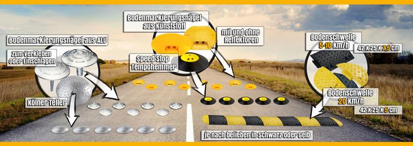 Bremsschwellen, Bodenschwellen, Tempo-Stopp-Nägel und Temposchwellen Banner
