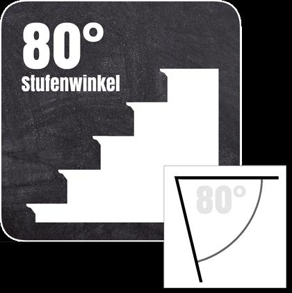 Treppenkantenprofil für Stufen mit einer Neigung von 80°