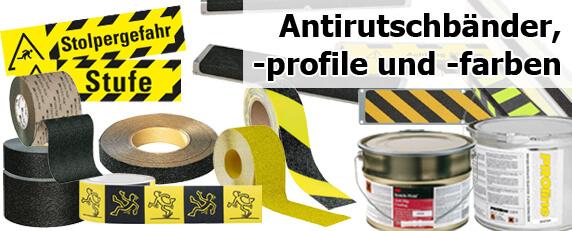 Antirutschbänder, -profile und -farben