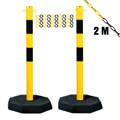 Kettenpfostenset STAHL, 2-teilig, gelb / schwarz, mit 2 m Stahlkette