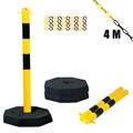 Kettenpfostenset STAHL, 3-teilig, gelb / schwarz, mit 4 m Stahlkette